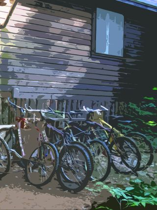 Staff bikes at Squam